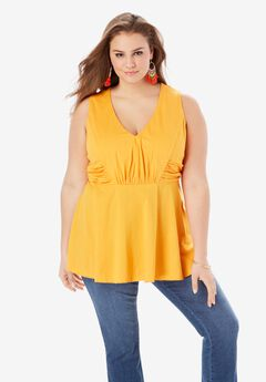 Ruched V-Neck Runway Tee,