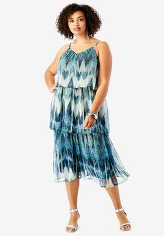 Tiered V-Neck Dress with Adjustable Straps,