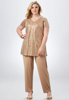 Sequin Pant Set, SPARKLING CHAMPAGNE, hi-res