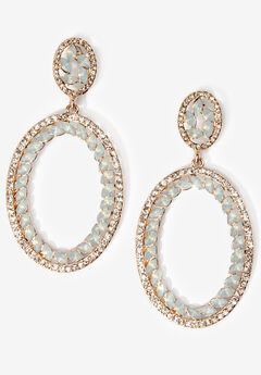 Rhinestone Oval Earrings,