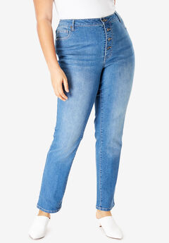 Button-Front Boyfriend Jean by Denim 24/7®,