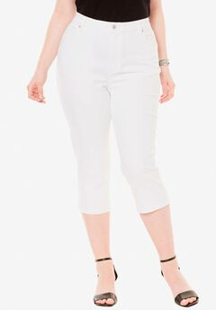Denim Capri with Invisible Stretch® by Denim 24/7®, WHITE DENIM
