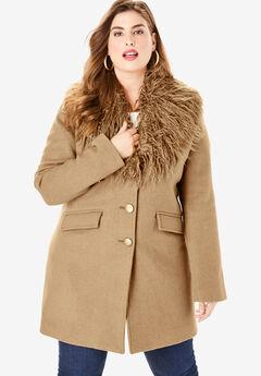Short Wool-Blend Coat, SOFT CAMEL