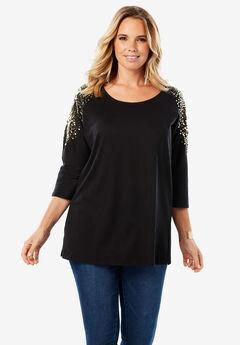 Three-Quarter Sleeve Embellished Tunic,
