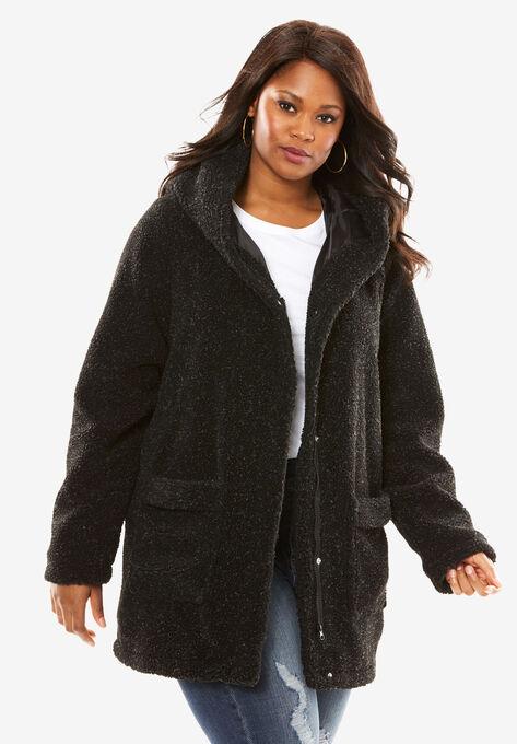 b4eb6f223fc Hooded Textured Fleece Coat