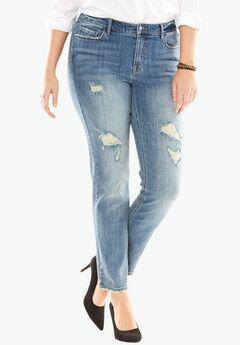 Boyfriend Jeans by Denim 24/7®, DISTRESSED, hi-res