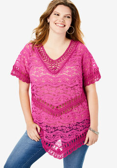 Lace Crochet Top, TROPICAL RASPBERRY