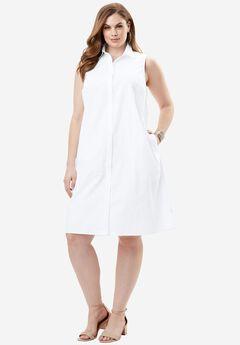 The Sleeveless Kate Dress, WHITE, hi-res