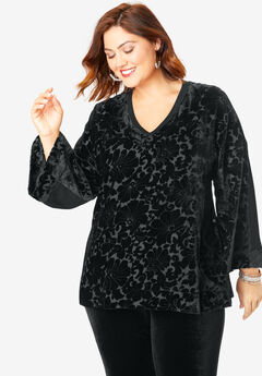 Velour Burnout Long-Sleeve Top,