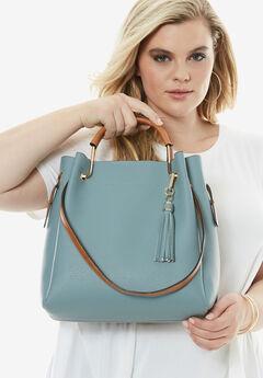 Tassel Bucket Bag, BLUE CLOUD, hi-res