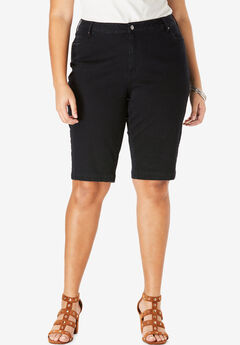 Bermuda Shorts with Invisible Stretch® Waistband by Denim 24/7®, BLACK