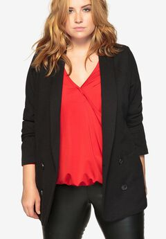 Shawl-Collar Double-Breasted Blazer by Castaluna,