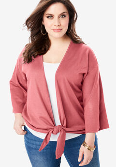 Tie-Front Cardigan with Kimono Sleeves, CORAL BLUSH