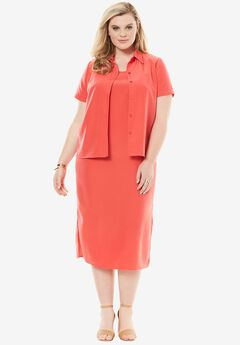 Jacket Dress Set, CORAL RED, hi-res