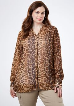 Sheer Crinkle Tunic, BROWN FADED ANIMAL