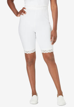 Essential Stretch Lace-Trim Short, WHITE