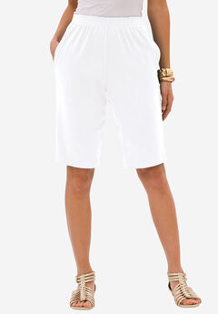 Soft Knit Bermuda Shorts, WHITE