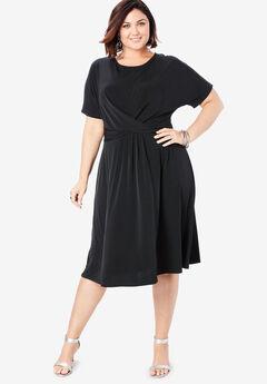 Twist Front Dress, BLACK