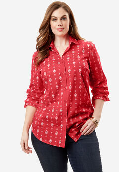 The Kate Shirt, CORAL RED PAISLEY, hi-res