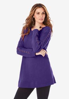 Crochet Sleeve Sweatshirt Tunic,