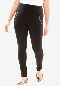 Zipper Pocket Ponte Leggings, BLACK, hi-res