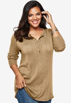 Fine Gauge Drop Needle Henley Sweater,