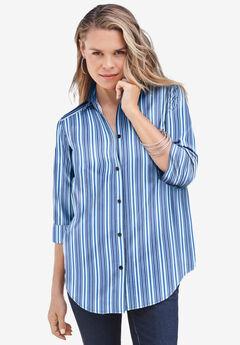 Three-Quarter Sleeve Kate Big Shirt, COOL MULTI STRIPE