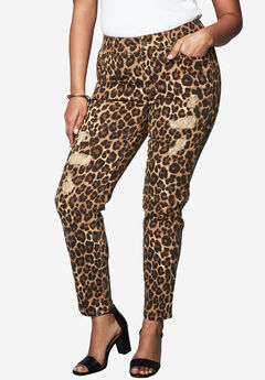 Distressed Twill Jeans by Denim 24/7, LEOPARD PRINT