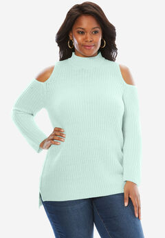Cold Shoulder Mockneck Sweater,