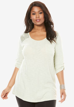 Cotton Slub Lace Tunic, ICE JADE, hi-res