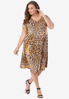 Swing Drape Dress, NATURAL LEOPARD