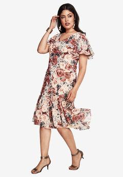 Print Chiffon Dress, FLORAL PRINT, hi-res