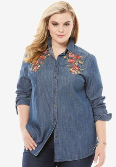 Embroidered Denim Shirt, LIGHT STONEWASH, hi-res