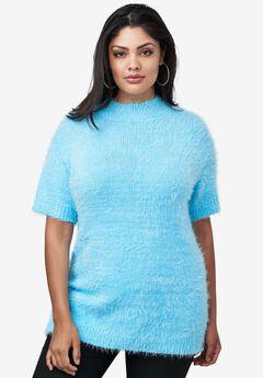 Mock Neck Eyelash Sweater, CRYSTAL SEA, hi-res