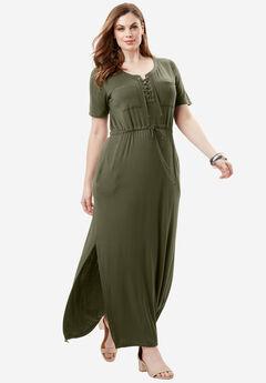 Lace-Up Maxi Dress, DARK OLIVE GREEN, hi-res