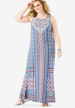 Print Maxi Dress, MULTI MEDALLION STRIPE