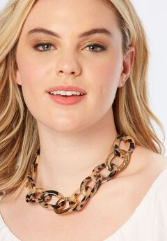 Faux Tortoise Shell Necklace,