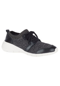 Cypress Knit Lace-Up Sneakers by Hush Puppies®, BLACK WHITE TEXTILE, hi-res