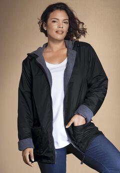 Hooded Nylon Jacket, BLACK, hi-res