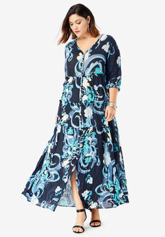 Tiered Crinkle Maxi Dress with Blouson Sleeves, NAVY ABSTRACT PRINT