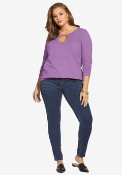 Long-Sleeve Keyhole Ultimate Tee, DUSTY LAVENDER
