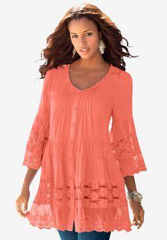 Illusion Lace Big Shirt, DUSTY CORAL