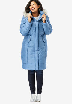 Midi-Length Quilted Parka with Faux-Fur Hood, DUSTY INDIGO