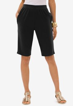 Soft Knit Bermuda Short, BLACK