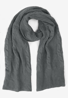 Cable Knit Scarf, SLATE