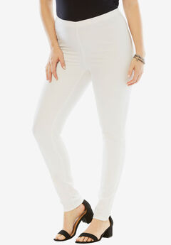 Skinny Pull-On Stretch Pant by Denim 24/7®, WHITE