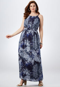 Pleated Maxi Dress, BLUE ABSTRACT GARDEN PRINT, hi-res