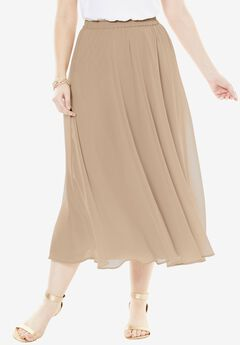 Long Georgette Skirt, SPARKLING CHAMPAGNE, hi-res