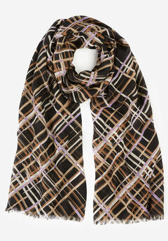 Lightweight Scarf, BRUSHSTROKE PLAID (PRINT)