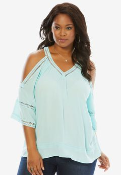 Cold Shoulder Top, CRYSTAL AQUA, hi-res